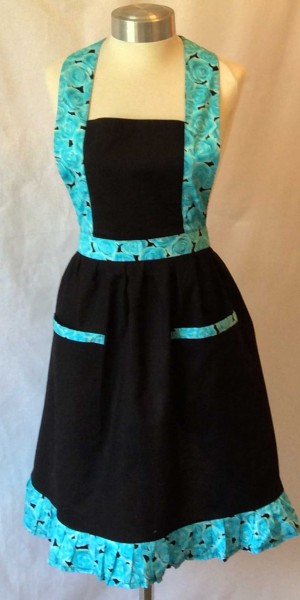 Apron Vintage Style Halter Neck Adult Black Blue roses