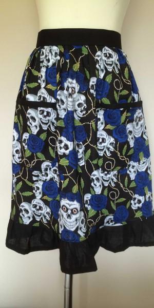Half Apron Vintage Style Adult Skulls Blue