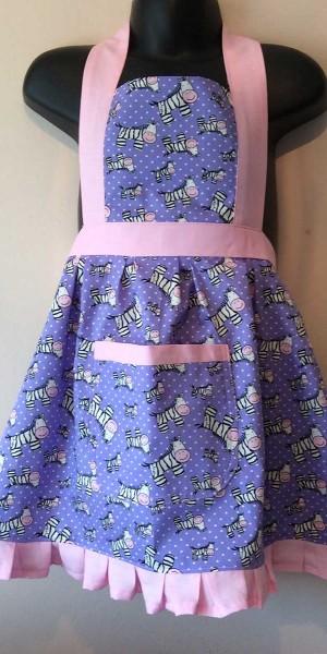Apron Vintage Style Halter Neck Kids Zoe Zebra Purple