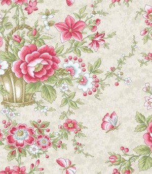 Fabric Makower Arbor rose 2/7780L Large Flower Pink