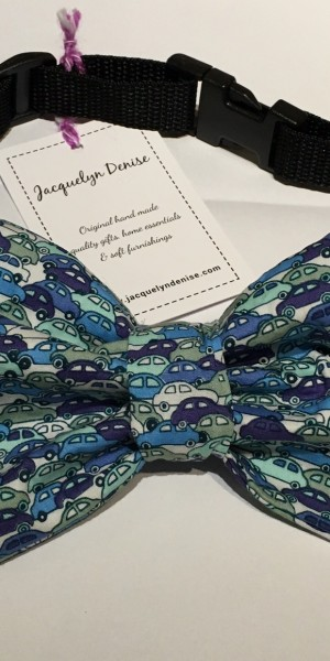 Doggy Bow Tie ditzy blue cars