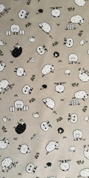 Fabric Chatham Glyn Linen Sheep Black and White