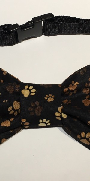 Doggy Bow Tie Brown Paws