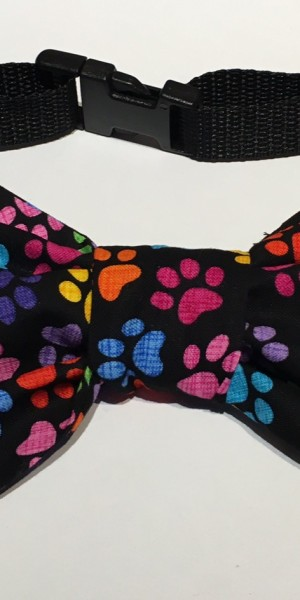 Doggy Bow Tie Black Multi Paws
