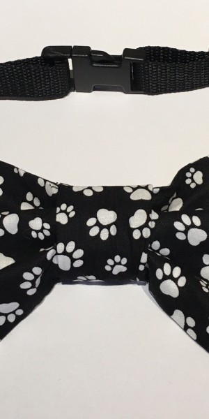 Doggy Bow Tie Black And White Paws