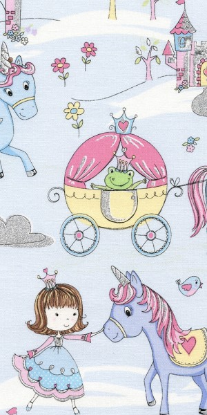 Fabric Timeless Treasures Sparkly Princess castle CM3685