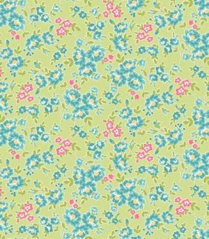 Makower Tea Party Floral Green 1648/G