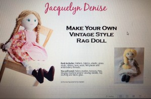 This Kit is for a vintage style rag doll, with an outfit of clothes to make too. The pack includes full size paper pieces to use directly onto the fabric.