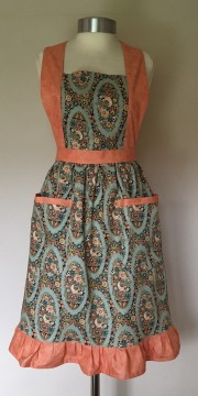 Apron Vintage Style Halter Neck Adult Edith Peach Green