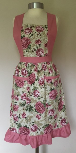 Apron Vintage Style Halter Neck Adult Paris Roses