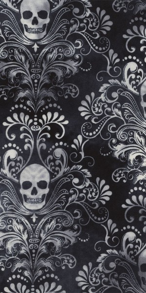 Fabric Timeless Treasures Charcoal Skulls C4784