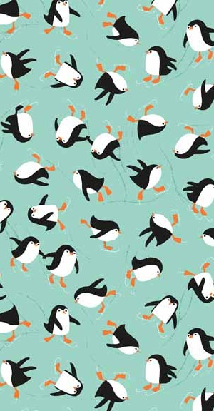 Makower UK Penguins Turquoise 1809/T