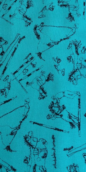 Fabric Jane Makower Cartoon horses Teal