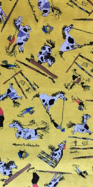 Fabric Jane Makower Cartoon horses Yellow