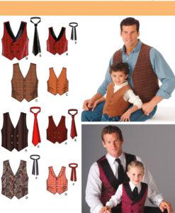 Simplicity Sewing Pattern 4762 A Men & Boys Waistcoat & Ties