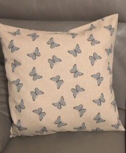 Cushion Individually Home Made Linen Butterfly Blue