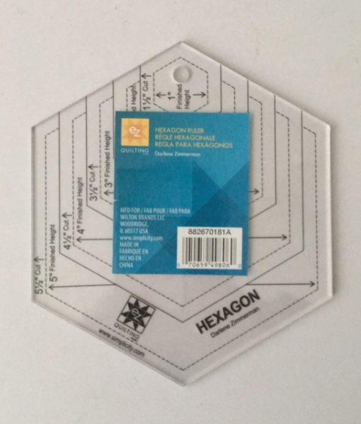 EZ Quilting Template Acrylic Hexagon Shape Measure