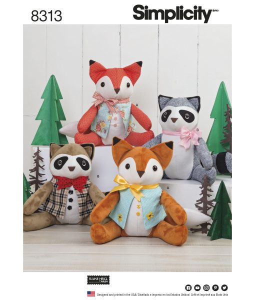 Simplicity Sewing Pattern 8313 Soft Toys