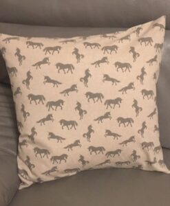 Cushion Individually Home Made Linen Grey Unicorns