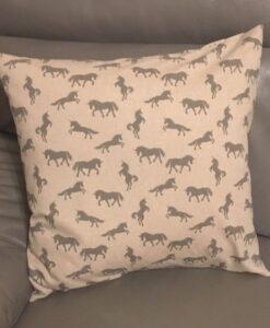 Cushion Individually Home Made Linen Grey Unicorns