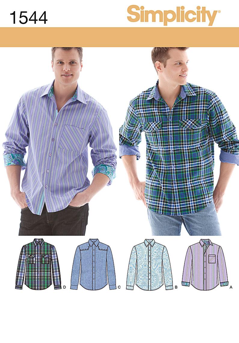 Simplicity Sewing Pattern 1544 AA Mens Shirt US size 34\