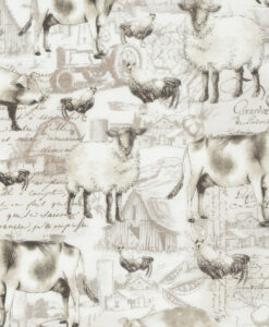 Fabric Timeless Treasures C5482 Etched Farm Animals