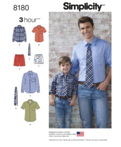 Sewing Pattern 8180 A Men & Boys Shirt Shorts and Tie