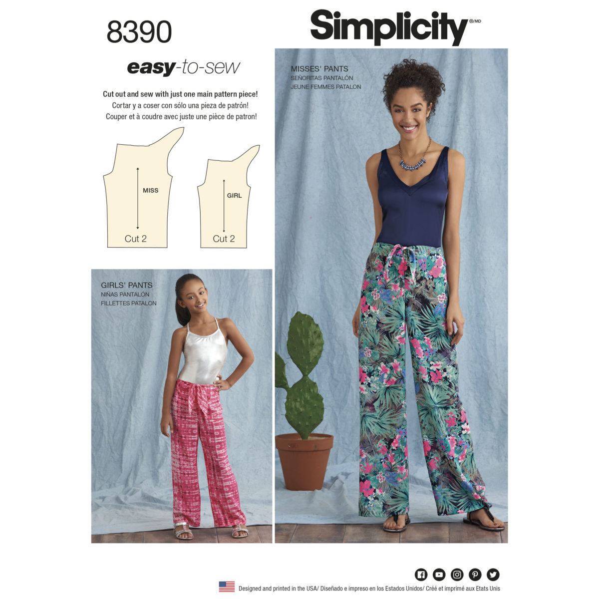 Sewing Pattern 8390 A Easy Sew Trousers One Size