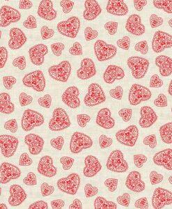 Makower UK Scandi Christmas Hearts Red 1786/R