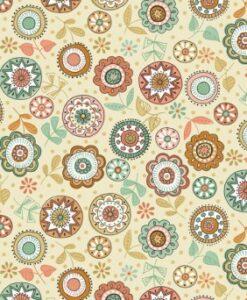 Makower UK Doodle Days 1874/Q Ivory Flower