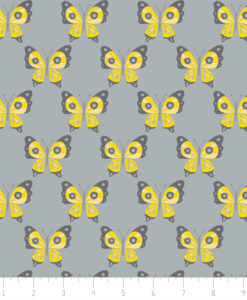 Fabric Camelot 6141805-2 Flutter Buzz Butterflies Grey