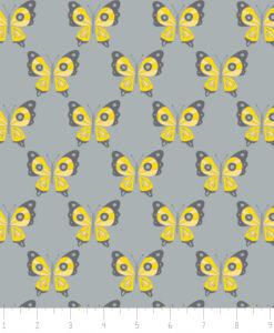 Fabric Camelot 6141805-2 Flutter Buzz Butterflies Grey