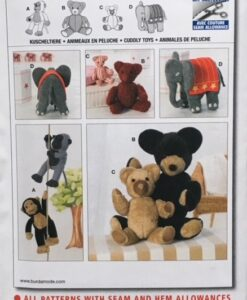 Burda Sewing Pattern 7904 Soft Toy Elephant/Monkey