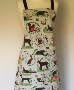 Apron Standard Adult Unsex Linen Woodland Animals