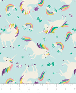 Fabric Camelot 61170605-1 I Believe In Unicorns Aqua