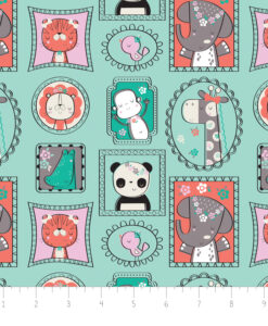Fabric Flannel/Fleece Camelot 9150014B-2 Aqua Animals
