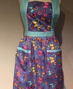 Apron Vintage Style Halter Neck Adult Blue Butterflies