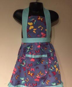 Apron Vintage Style Halter Neck Kids Blue Butterflies