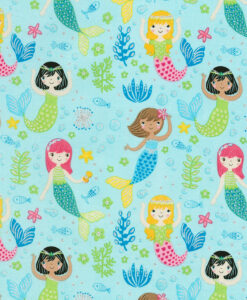 Fabric Timeless Treasures CM6613 Glitter Mermaids Blue
