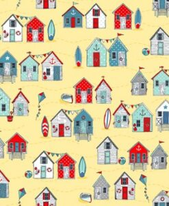 Fabric Makower UK Sea Breeze Beach Huts Yellow 2080/Y