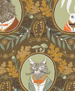 Fabric Dear Stella Superior Quality SRR1156 Toffee Animals