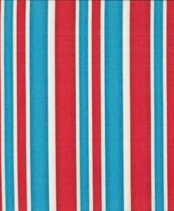 Fabric Makower UK London Red Blue White Stripe 987/1