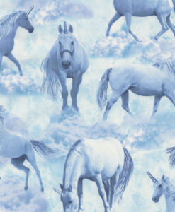 Fabric Timeless Treasures C6544 Unicorns Blue/White