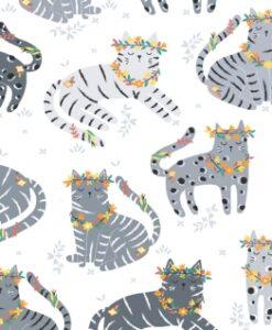 Fabric Dear Stella 1078 Pawsome Cats White