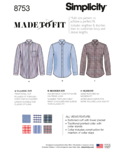 Sewing Pattern 8753 AA Men's Slim Fit Shirt