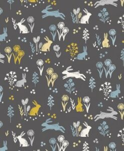 Fabric Makower UK Groves Rabbits Grey 2163/S