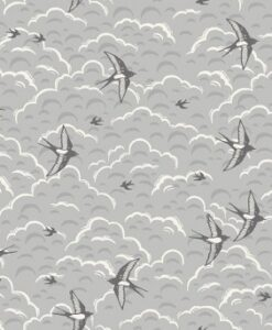 Fabric Makower UK Groves Swallows Grey 2164/S