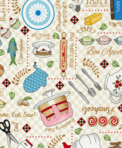 Fabric Timeless Treasures C6794 Baking Essentials Cream