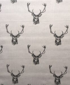 Fabric Fryett's Stag Heads Charcoal 100% Cotton Canvas