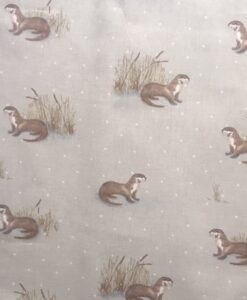 Fabric Fryett's Otters Natural 100% Cotton Canvas